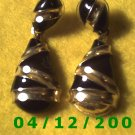 Gold and Black Pierced Earrings      Q1008