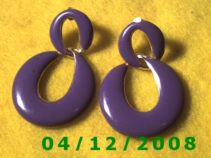 "1 1/4 x 2"" Gold and Lavender Pierced Earrings     Q1012"