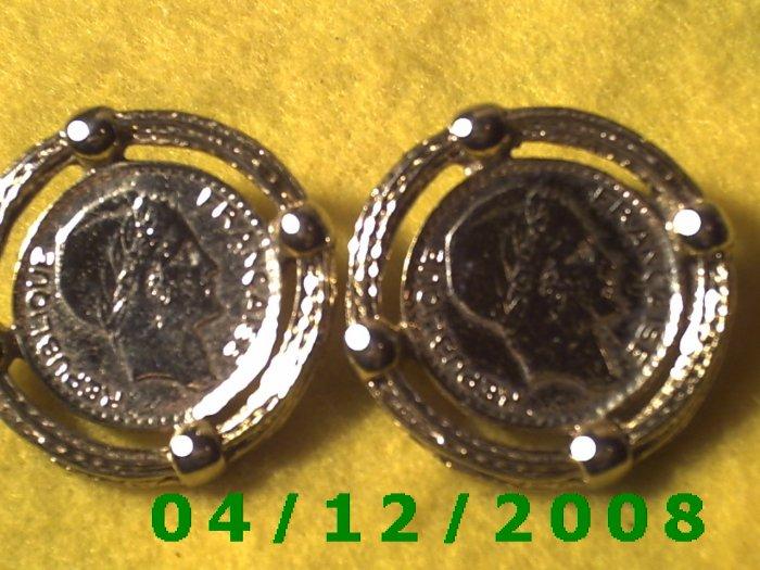 Gold French Coin Replica Pierced Earrings     Q1013