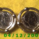 Gold French Coin Replica Pierced Earrings     Q1013