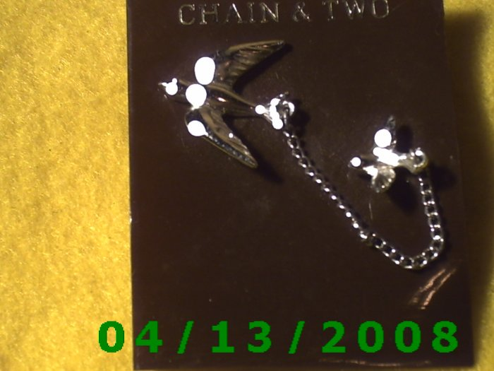 Chain and 2 Birds Silver Vintage Hat Pins       Q2001