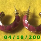 Red Hoop Pierced Earrings    Q3026