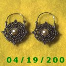 Silver Hoop Pierced Earrings w/Charm    Q3045