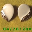 Gold and White Clip On Earrings.............   096