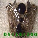 Gold Brooch w/dark red stones n tear drop (094)