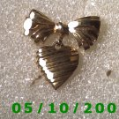 Gold Bow n Heart Pin w/Inscription on Back I Love You Mother