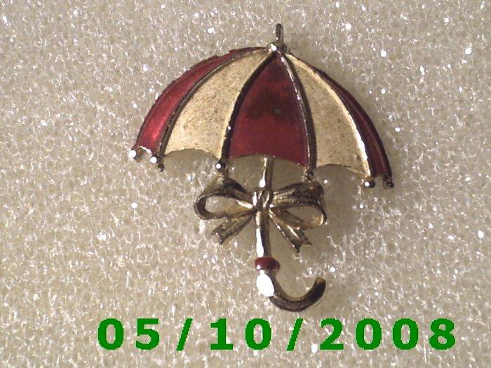 Silver Red n White Umbrella Pin  A090