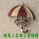 Silver Red n White Umbrella Pin  A090