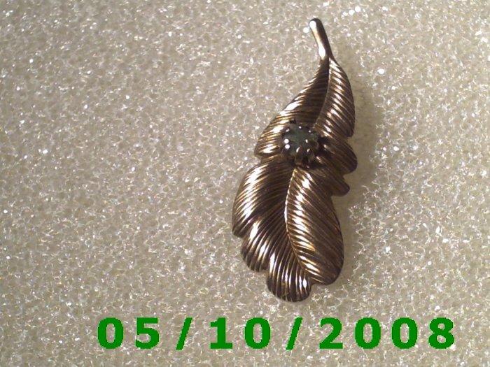 Brass Leaf w/stone Pin