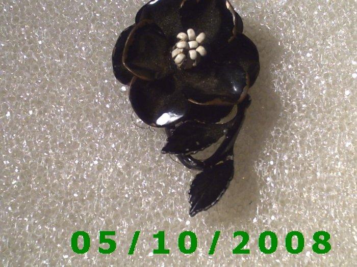 Black Flower Pin