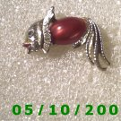 Silver n Red Fish Pin  059