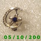 Gold Moon w/Sapphire Pin
