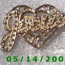 Gold Heart n Jesus Pin    B026