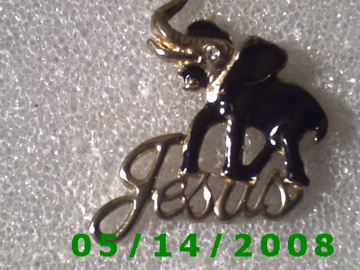 Gold n Black Elephant Jesus Pin    B025