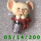 Mouse in a Thimbal Pin Signed 1983 Halmark Cards  B023