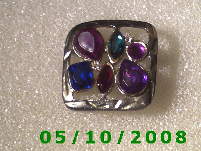 Silver w/multi colored stones pin     A092
