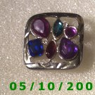 Silver w/multi colored stones pin     A092