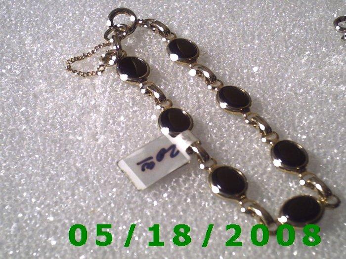 """8"""" Gold Plated Bracelett w/Black Stones (005) (055)"""