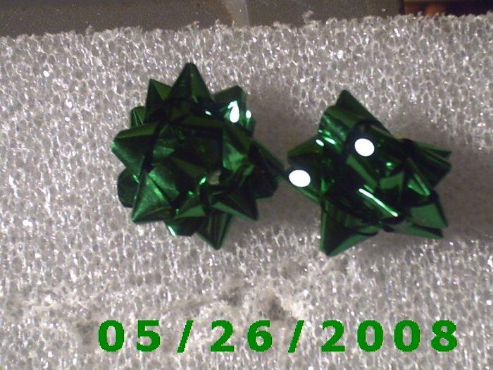 Green Bow Pierced Earrings     C003