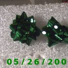 Green Bow Pierced Earrings     C003