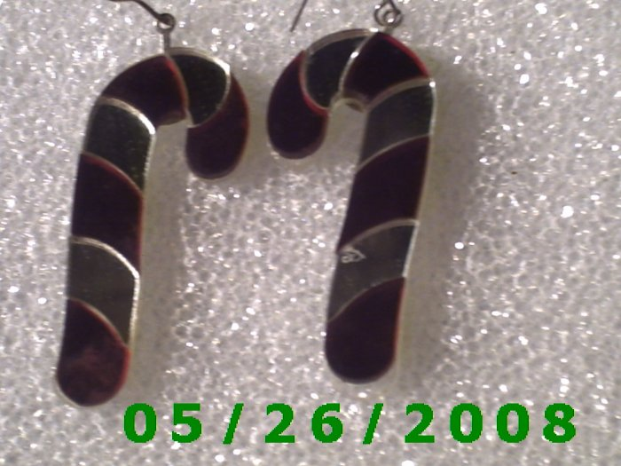 Red and Silver Candy Cane Pierced Earrings     C011