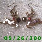 Gold Fiber Raindeer Pierced Earrings     C022