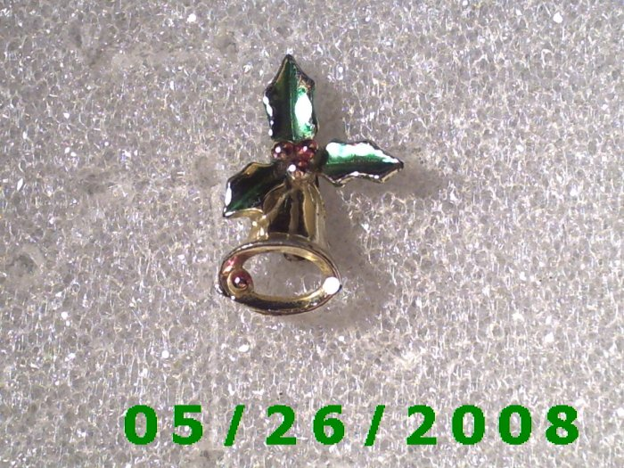 Silver Bell with Holly Pin     C003