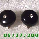 Black w/Clear Stone Clip On Earrings    D017 1009