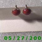 Silver w/Red Stone Clip On Earrings    D006