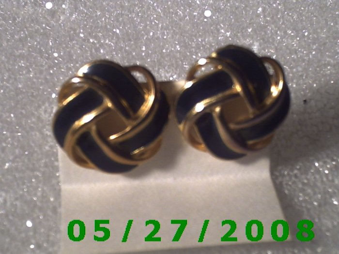 Gold n Blue Knot Clip On Earrings    D026 1012