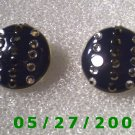 Blue Buttons w/Rhinestones Clip On Earrings  (D030)