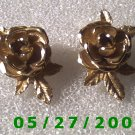 Gold Rose Clip On Earrings signed Sarah Cov    D032