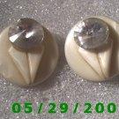 White w/clear stone Clip On Earrings    D048