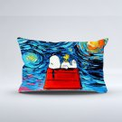 "Snoopy Peanut Starry Night Two Sides Printed Pillow cover 20""x36"" Rectangle Pillow case cushion"