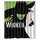 "Wicked The Broadway Musical Waterproof Fabric 12 Hooks Bathroom Shower Curtain 60""x 72"""