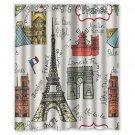 "Eiffel France Landmark Waterproof Fabric 12 Hooks Bathroom Shower Curtain 60""x 72"""