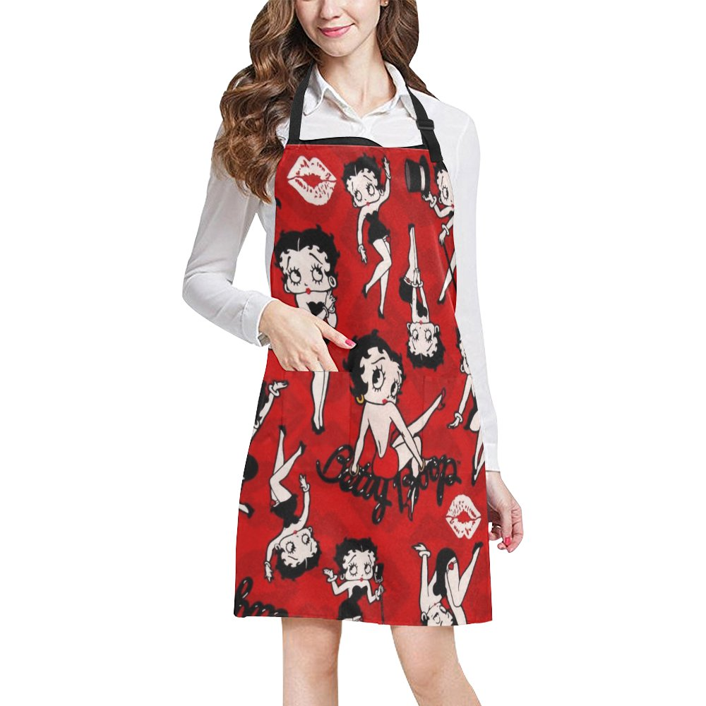 Betty Boop Apron All Over Print Adjustable Bib Apron with Pockets - Commercial Restaurant Home Kichn