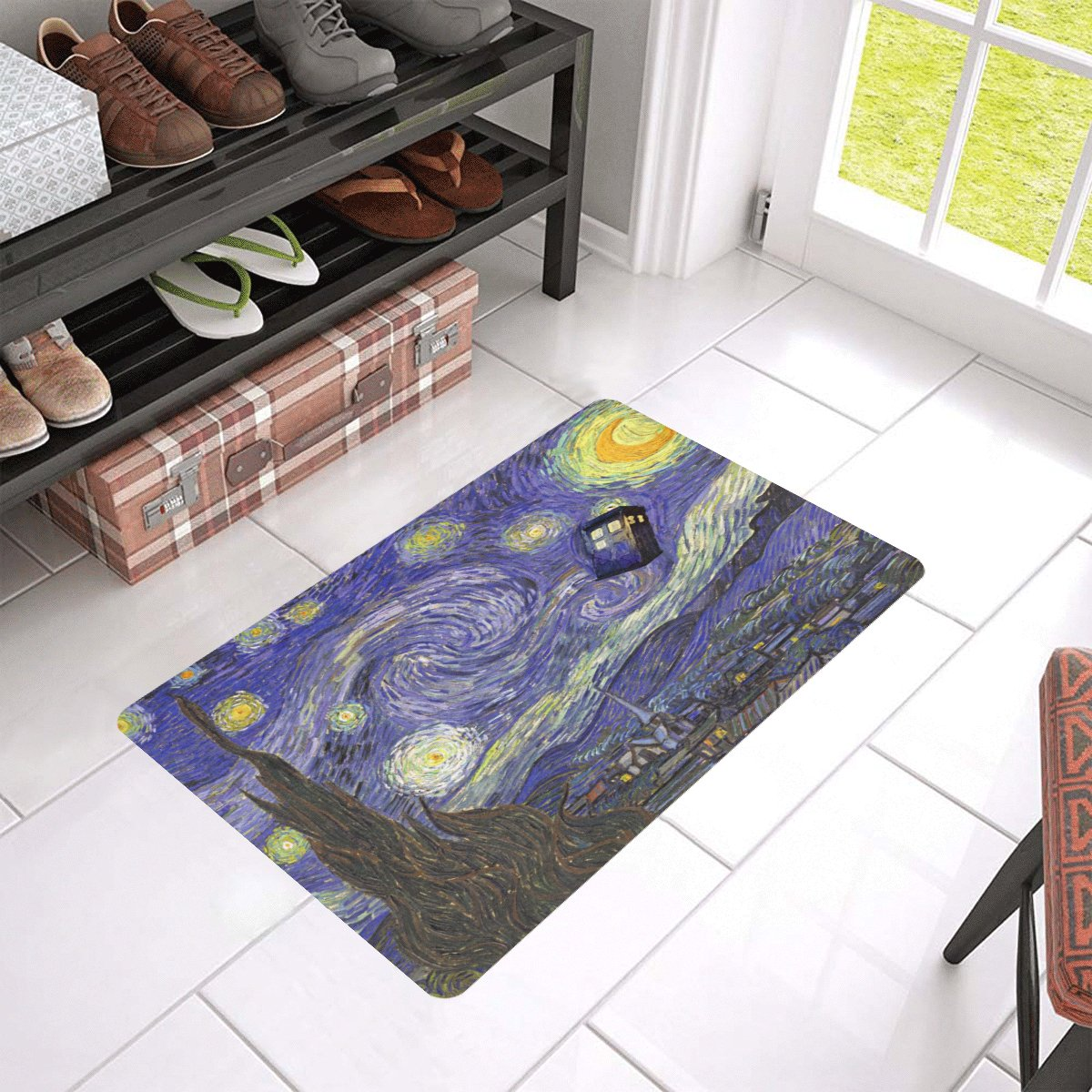 """Tardis Dr Who Starry Night Doormat 24""""x16"""" Non Slip Mat Rugs Carpets Door Mats Floor Mats"""