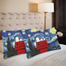 Starry Night Peanut Set 2 Items Pillow Case 20 x 30 One-Side Printed Best Pillow Quality Fabric