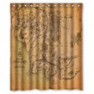 "Map of Middle Earth The Hobbit World Waterproof Bathroom fabric most popular Shower Curtain 60""x 72"""