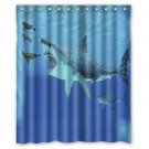 "Megalodon Shark Shower Curtain Waterproof Bathroom fabric most popular Shower Curtain 60""x 72"""