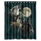"Three Wolves Night Shower Curtain Waterproof Bathroom fabric most popular Shower Curtain 60""x 72"""