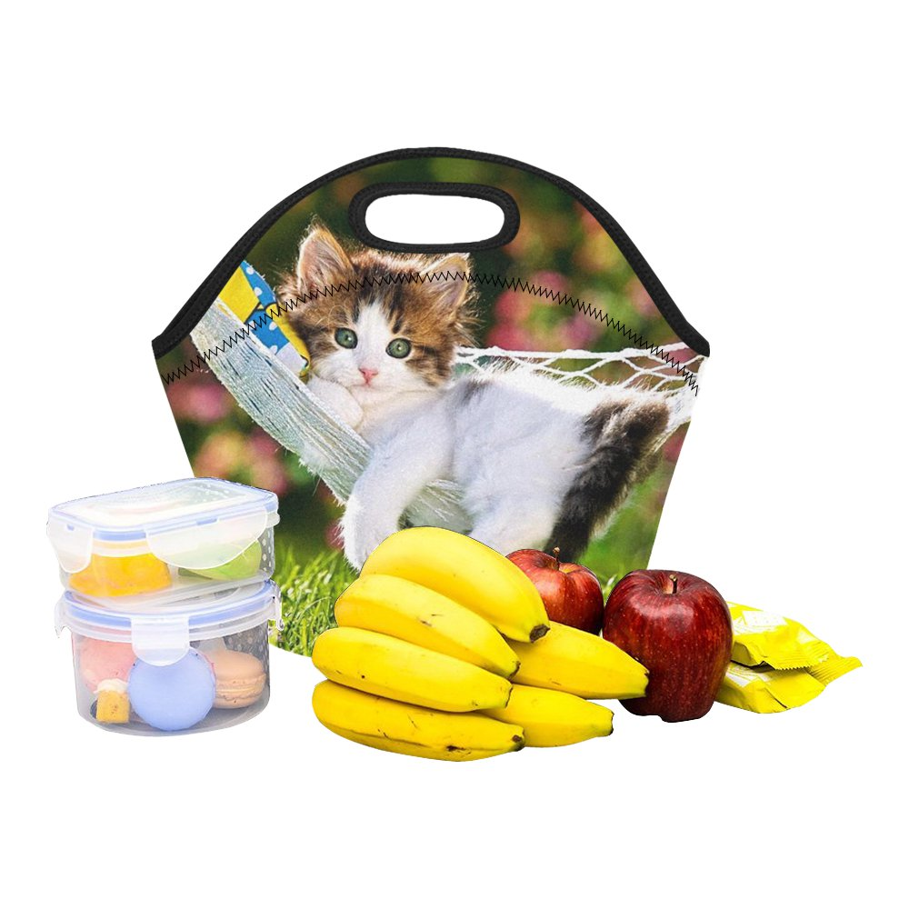 Kitty Cat Animal Cute Food Bag Neoprene Lunch Bag Lunch Box Reusable Tote Bags  Insulated Lunch Bag