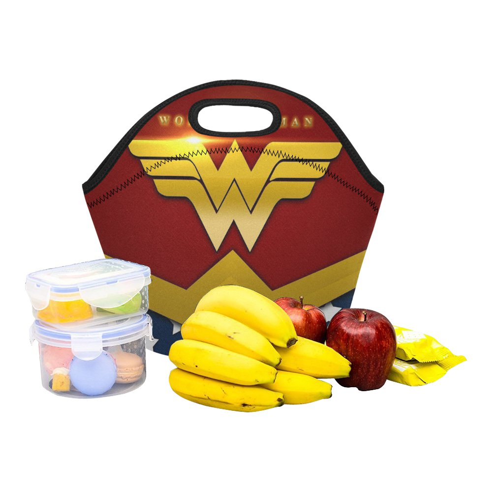 Wonder Woman Hero Food Bag Neoprene Lunch Bag Lunch Box Reusable Tote Bags  Insulated Lunch Bag