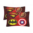 Superhero Logo Set 2 Pillow Case 20 x 30 Set 2 One-Side Printed Best Pillow Quality Fabric