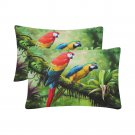 Macaw Green Parrots Birds Set 2 Pillow Case 20 x 30 One-Side Printed Best Pillow Quality Fabric