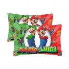 Luigi And Mario Bros Set 2 Pillow Case 20 x 30 One-Side Printed Best Great Pillow Quality Fabric