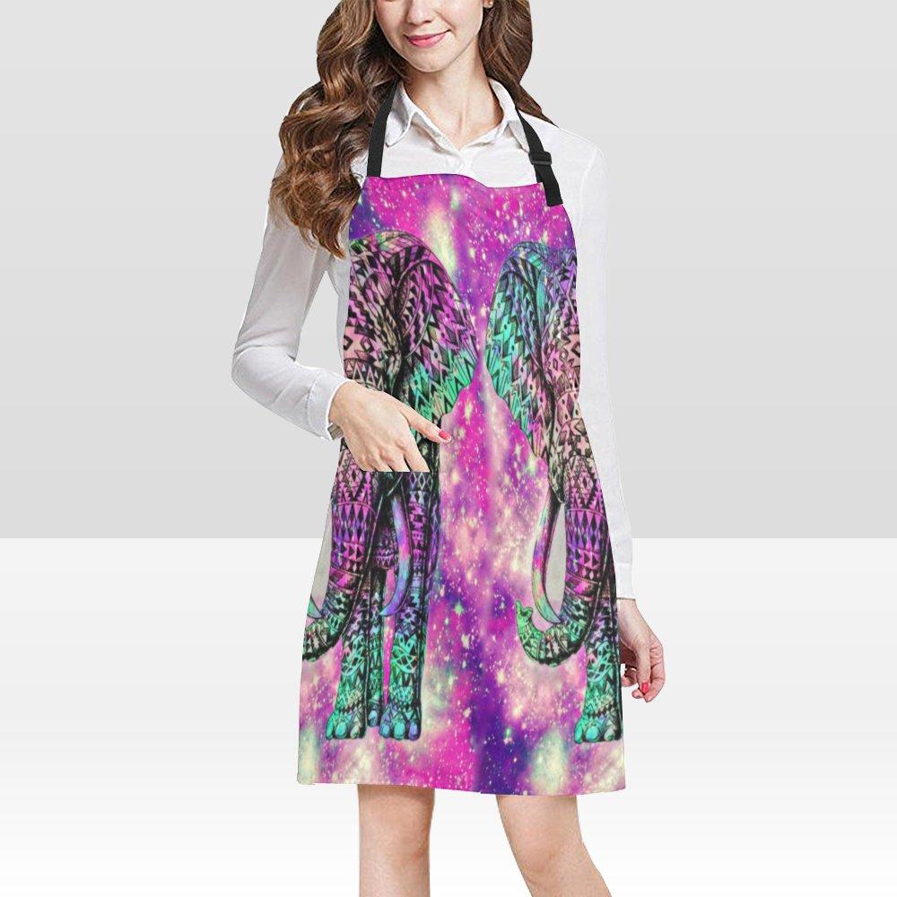 Sky Elephant Galaxy Popular Bib Apron Pockets Restaurant Home Kitchen Dining Best Fabric and Style