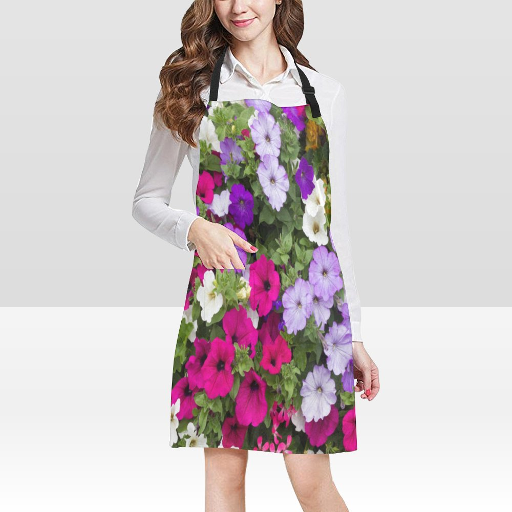 Petunias Flower Popular Bib Apron Pockets Restaurant Home Kitchen Dining Best Fabric and Style