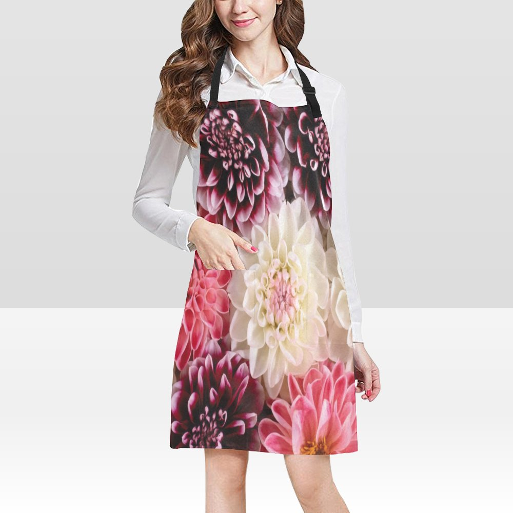 Dahlia Flower Popular Bib Apron Pockets Restaurant Home Kitchen Dining top Best Fabric and Style